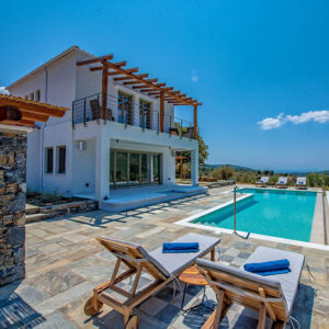 Villa Lyra with Private Pool, breathtaking Seaview and beautiful spacious outdoors in Skopelos Island